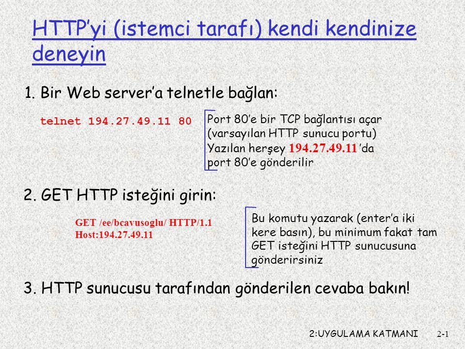 2:UYGULAMA KATMANI2-1 HTTP'yi (istemci tarafı) kendi kendinize deneyin 1.