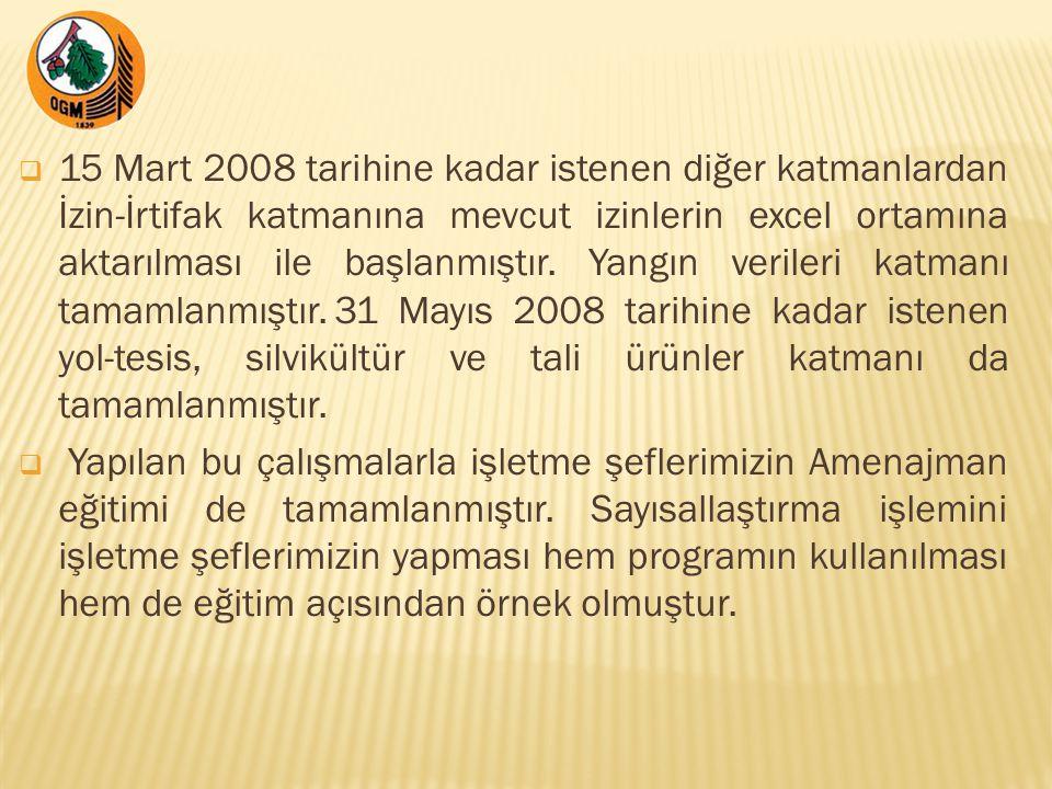  15 Mart 2008 tarihine kadar istenen diğer katmanlardan İzin-İrtifak katmanına mevcut izinlerin excel ortamına aktarılması ile başlanmıştır.