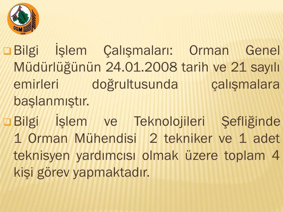  Bilgi İşlem Çalışmaları: Orman Genel Müdürlüğünün 24.01.2008 tarih ve 21 sayılı emirleri doğrultusunda çalışmalara başlanmıştır.