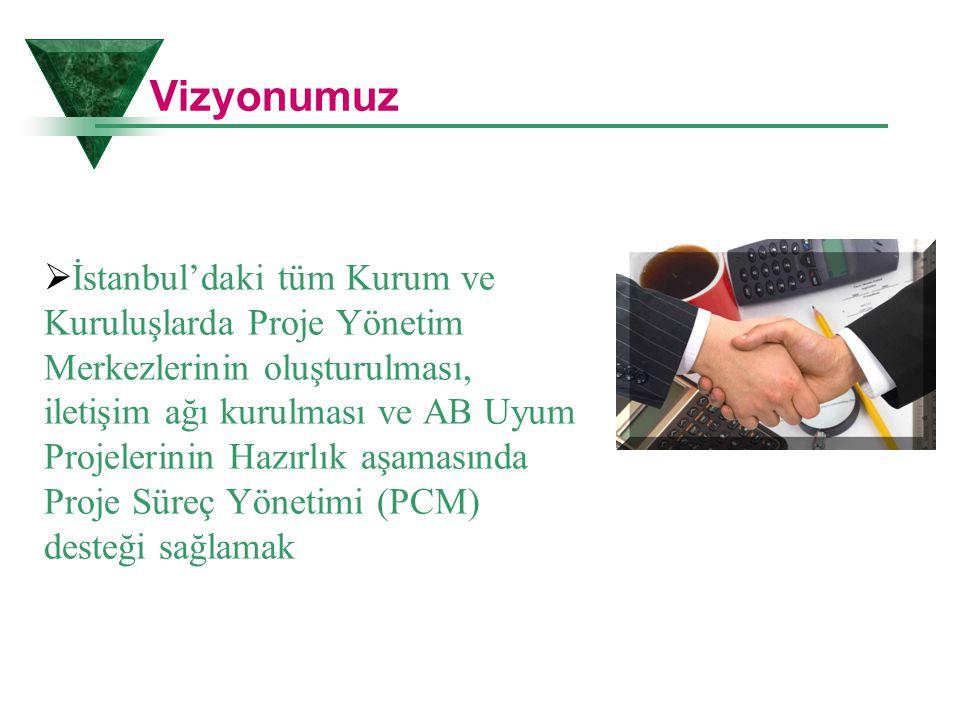 Vizyonumuz  İstanbul'daki tüm Kurum ve Kuruluşlarda Proje Yönetim Merkezlerinin oluşturulması, iletişim ağı kurulması ve AB Uyum Projelerinin Hazırlı