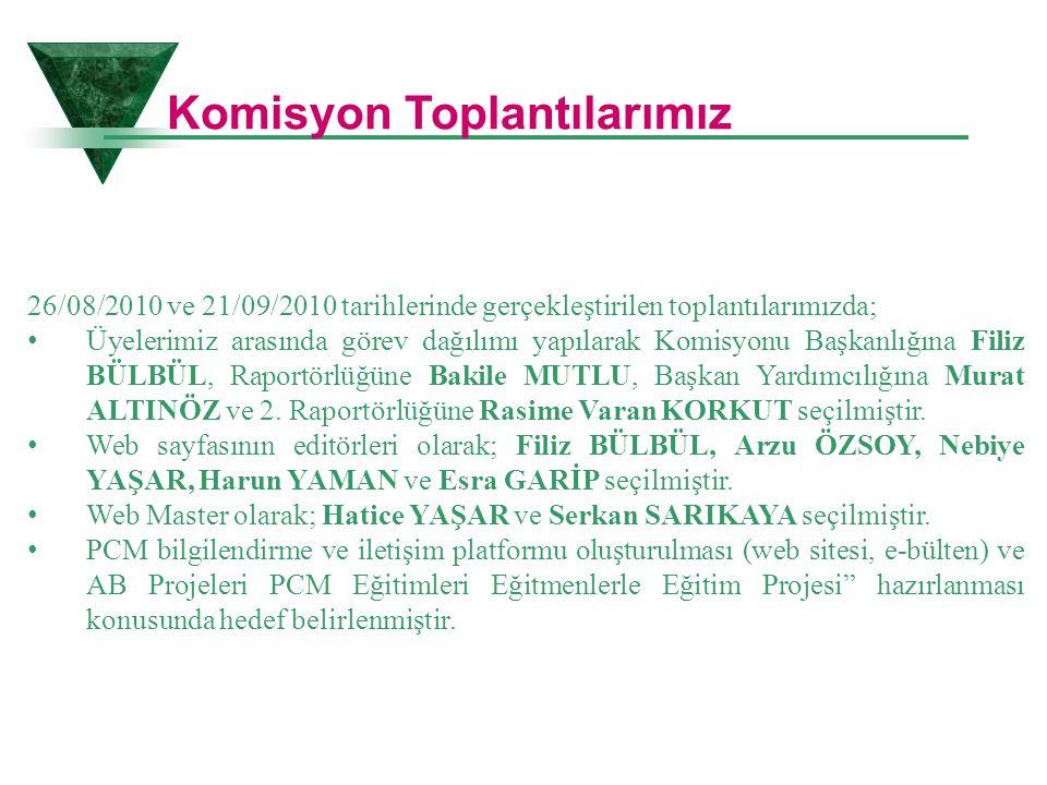 26/08/2010 ve 21/09/2010 tarihlerinde gerçekleştirilen toplantılarımızda; • Üyelerimiz arasında görev dağılımı yapılarak Komisyonu Başkanlığına Filiz