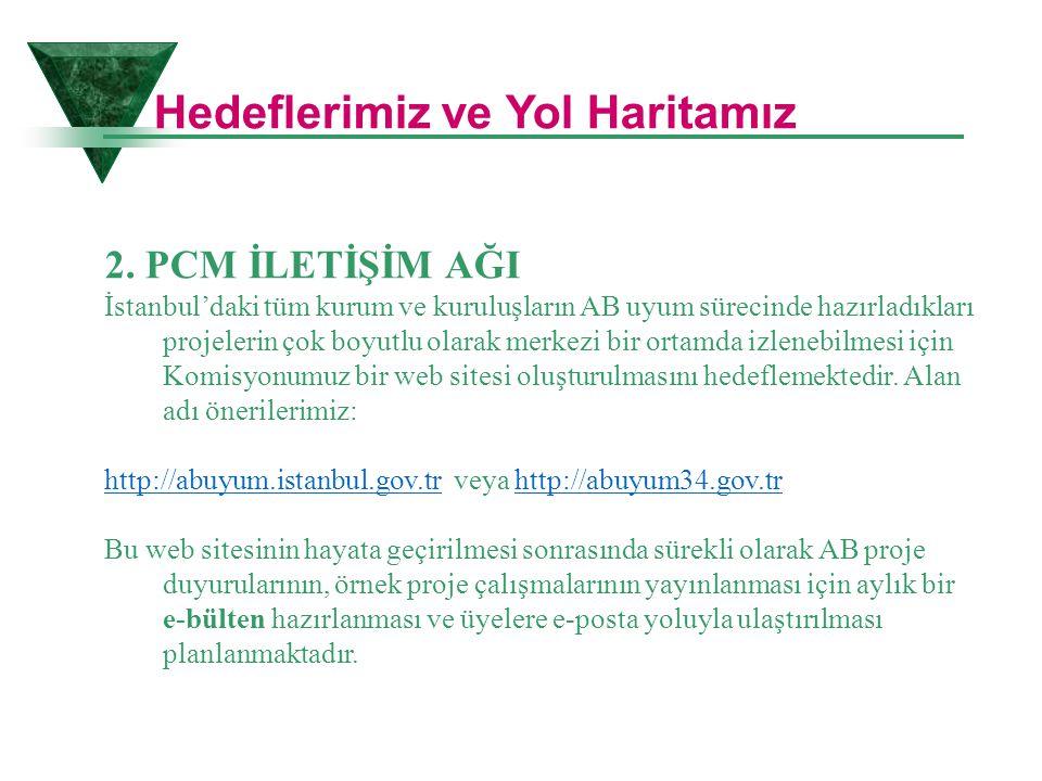 2. PCM İLETİŞİM AĞI İstanbul'daki tüm kurum ve kuruluşların AB uyum sürecinde hazırladıkları projelerin çok boyutlu olarak merkezi bir ortamda izleneb