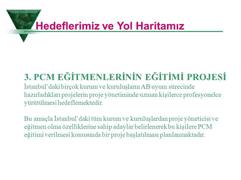 3. PCM EĞİTMENLERİNİN EĞİTİMİ PROJESİ İstanbul'daki birçok kurum ve kuruluşların AB uyum sürecinde hazırladıkları projelerin proje yönetiminde uzman k