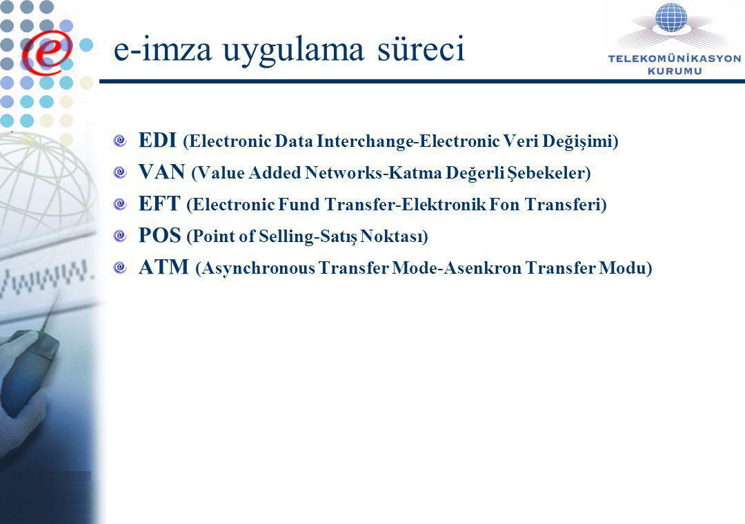 E-İmza Yasasına Temel Teşkil Eden Düzenlemeler BM UNCITRAL  Elektronik Ticaret Model Yasası (1996)  Elektronik İmza Model Yasası (2001) E-imza Direktifi (99/93/EC) E-ticaret Direktifi (2000/31/EC) AB üyesi ülkelerin yasaları (Örnek: Alman Elektronik İmza Yasası, 2001)