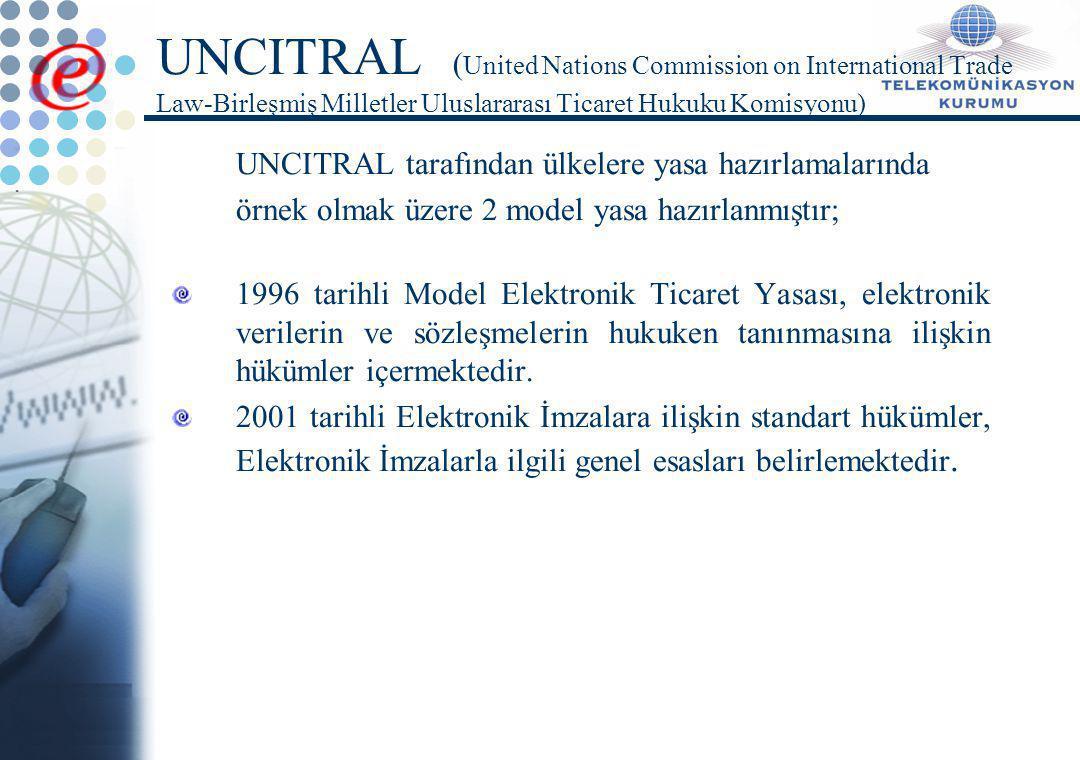 E-İmzada Aktörler ve Araçlar Yetkili kurum Sertifika hizmet sağlayıcıları Kullanıcılar Denetleme mekanizması Uluslararası anlaşmalar