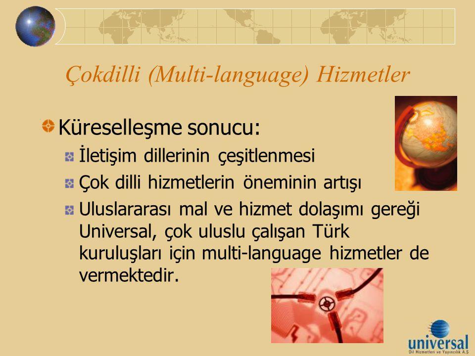 Çokdilli (Multi-language) Hizmetler Küreselleşme sonucu: İletişim dillerinin çeşitlenmesi Çok dilli hizmetlerin öneminin artışı Uluslararası mal ve hi