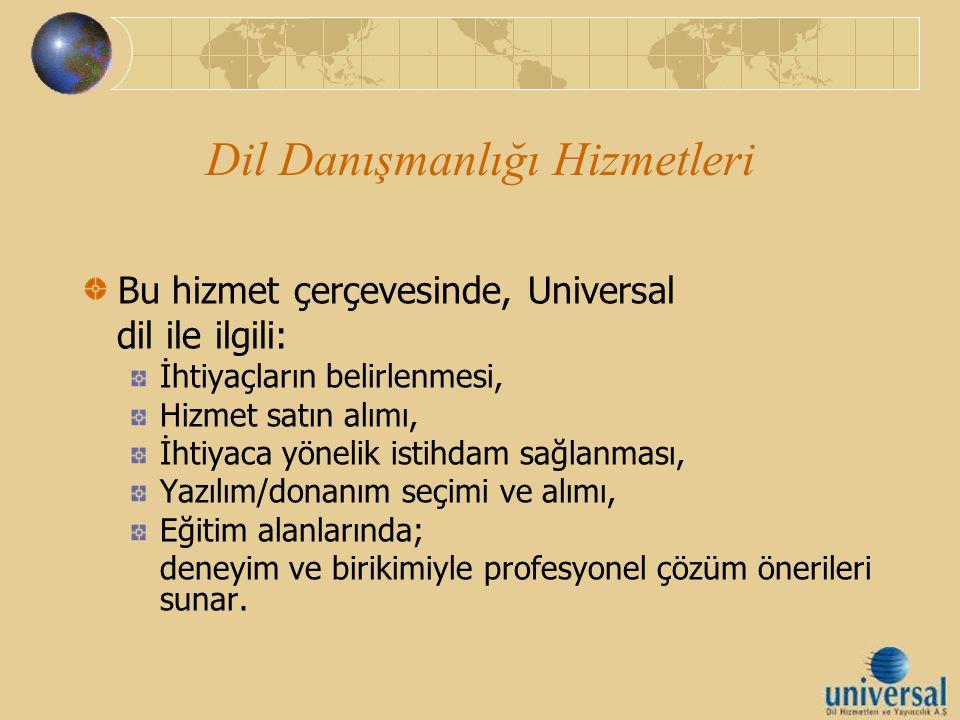 Dil Danışmanlığı Hizmetleri Bu hizmet çerçevesinde, Universal dil ile ilgili: İhtiyaçların belirlenmesi, Hizmet satın alımı, İhtiyaca yönelik istihdam