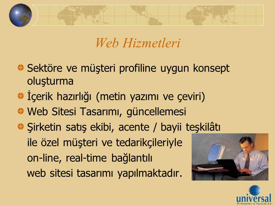 Web Hizmetleri Sektöre ve müşteri profiline uygun konsept oluşturma İçerik hazırlığı (metin yazımı ve çeviri) Web Sitesi Tasarımı, güncellemesi Şirket