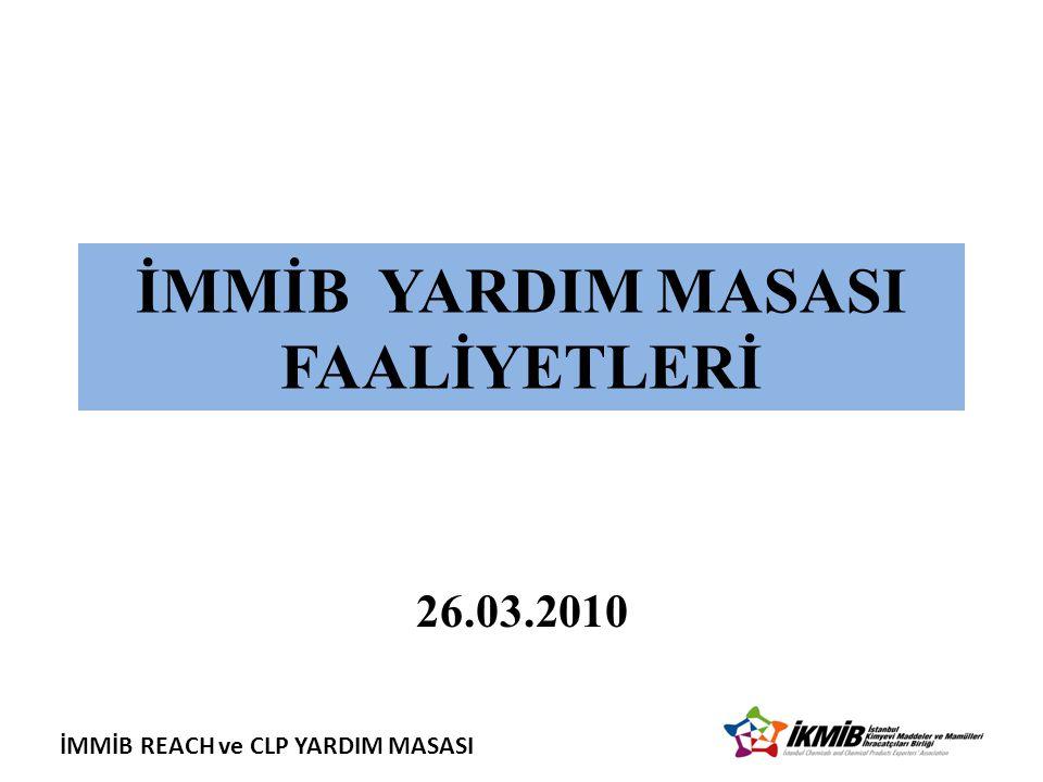 İMMİB REACH ve CLP YARDIM MASASI İMMİB YARDIM MASASI FAALİYETLERİ 26.03.2010