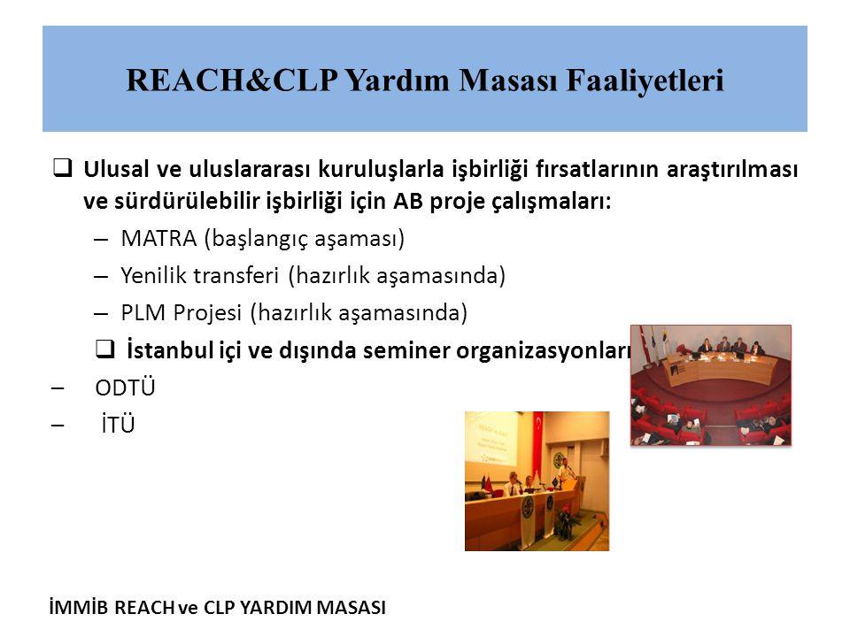 İMMİB REACH ve CLP YARDIM MASASI REACH&CLP Yardım Masası Faaliyetleri  Ulusal ve uluslararası kuruluşlarla işbirliği fırsatlarının araştırılması ve s