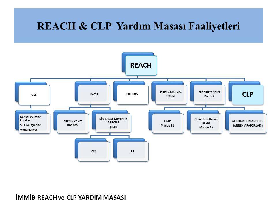 İMMİB REACH ve CLP YARDIM MASASI REACH & CLP Yardım Masası Faaliyetleri REACH SIEF Konsorsiyumlar kurallar SIEF Anlaşmaları Veri/maliyet KAYIT TEKNİK