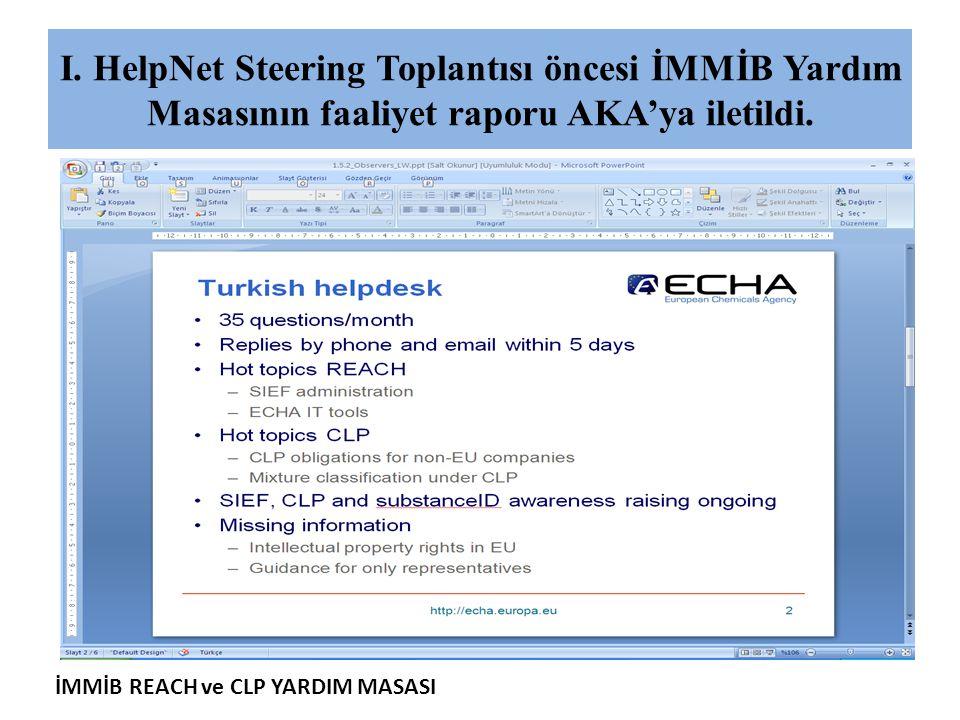 İMMİB REACH ve CLP YARDIM MASASI I. HelpNet Steering Toplantısı öncesi İMMİB Yardım Masasının faaliyet raporu AKA'ya iletildi.