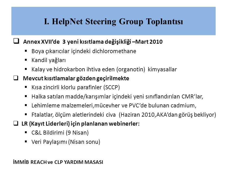İMMİB REACH ve CLP YARDIM MASASI I. HelpNet Steering Group Toplantısı  Annex XVII'de 3 yeni kısıtlama değişikliği –Mart 2010  Boya çıkarıcılar içind
