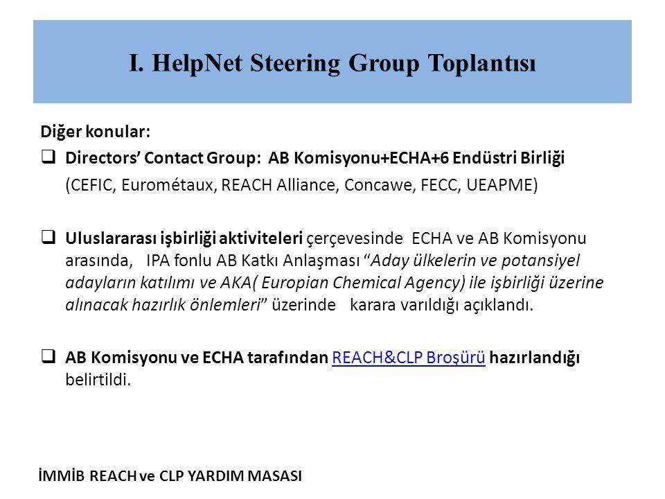 İMMİB REACH ve CLP YARDIM MASASI I. HelpNet Steering Group Toplantısı Diğer konular:  Directors' Contact Group: AB Komisyonu+ECHA+6 Endüstri Birliği