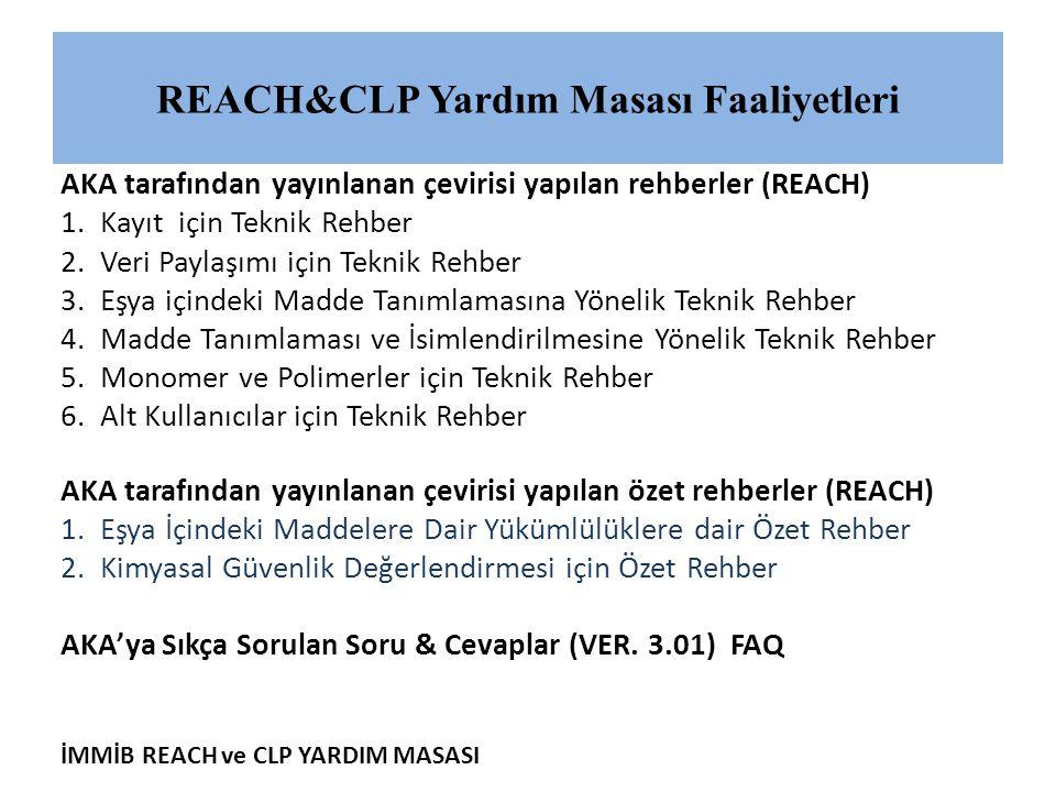 İMMİB REACH ve CLP YARDIM MASASI REACH&CLP Yardım Masası Faaliyetleri AKA tarafından yayınlanan çevirisi yapılan rehberler (REACH) 1.Kayıt için Teknik