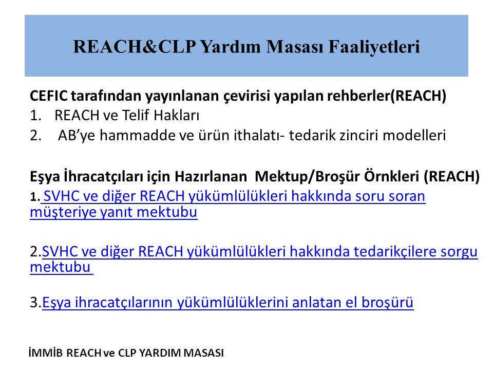 İMMİB REACH ve CLP YARDIM MASASI CEFIC tarafından yayınlanan çevirisi yapılan rehberler(REACH) 1.REACH ve Telif Hakları 2. AB'ye hammadde ve ürün itha