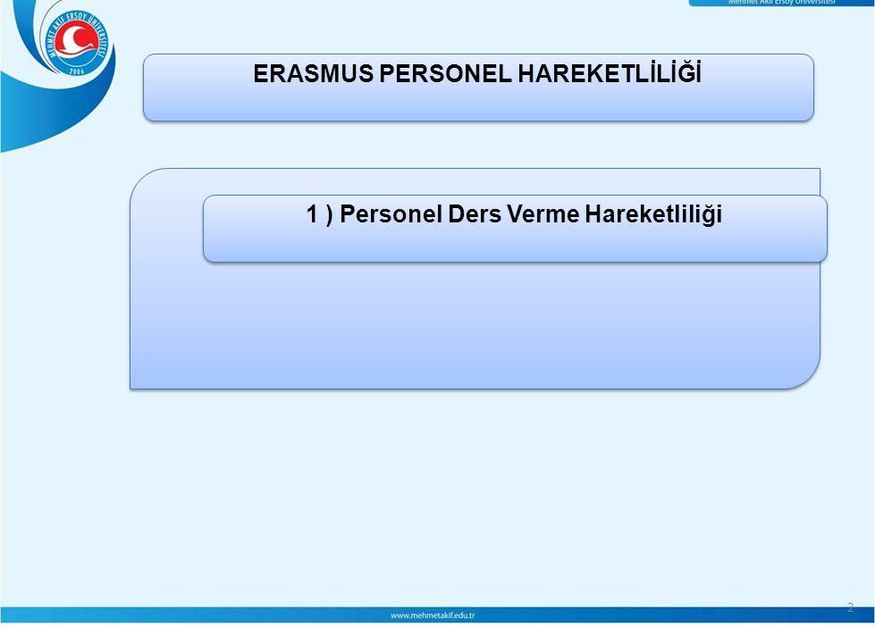 2 ERASMUS PERSONEL HAREKETLİLİĞİ 1 ) Personel Ders Verme Hareketliliği