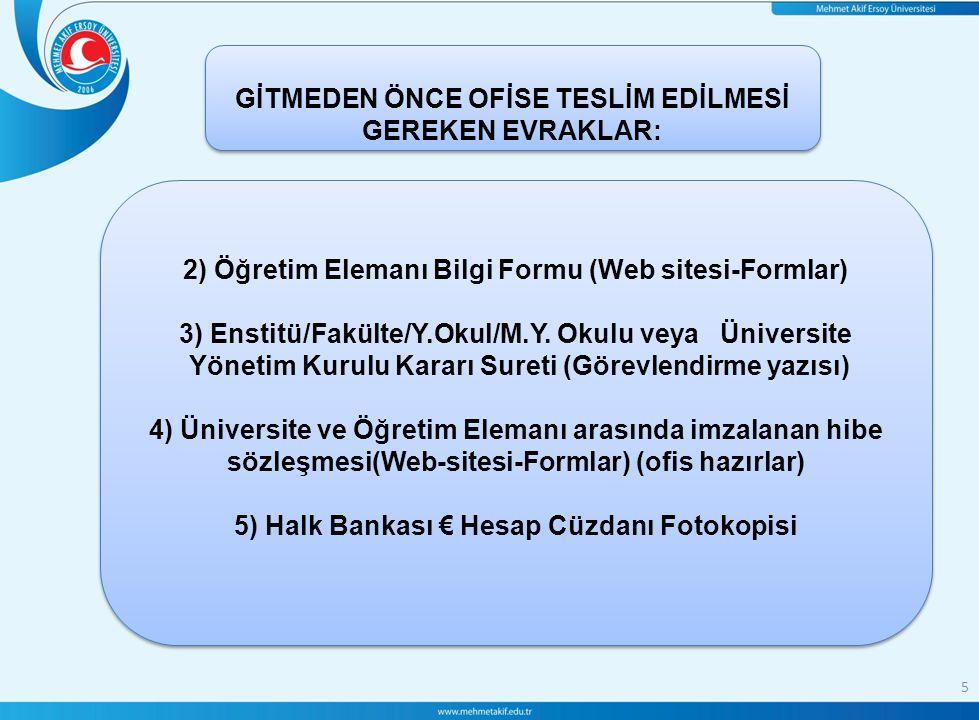 5 GİTMEDEN ÖNCE OFİSE TESLİM EDİLMESİ GEREKEN EVRAKLAR: 2) Öğretim Elemanı Bilgi Formu (Web sitesi-Formlar) 3) Enstitü/Fakülte/Y.Okul/M.Y.