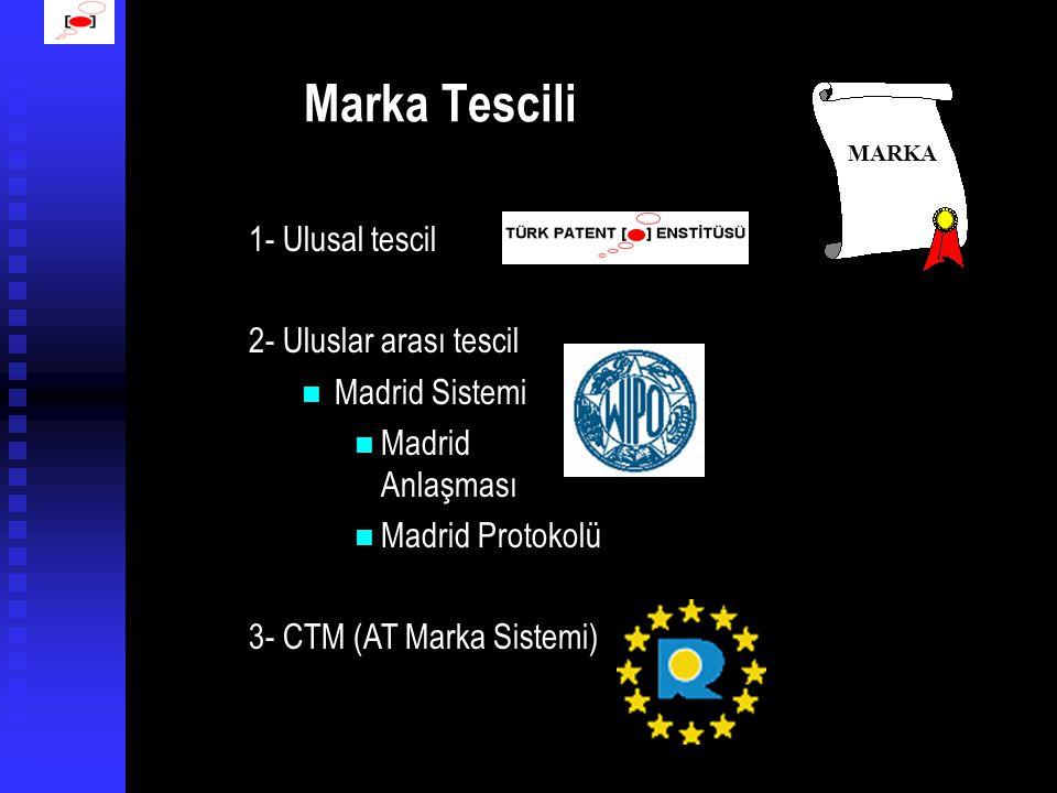 Marka Tescili 1- Ulusal tescil 2- Uluslar arası tescil  Madrid Sistemi  Madrid Anlaşması  Madrid Protokolü 3- CTM (AT Marka Sistemi) MARKA