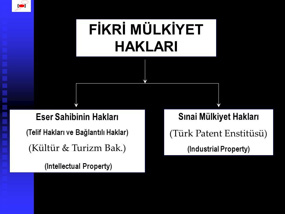 FİKRİ MÜLKİYET HAKLARI Eser Sahibinin Hakları (Telif Hakları ve Bağlantılı Haklar) (Kültür & Turizm Bak.) (Intellectual Property) Sınai Mülkiyet Hakları (Türk Patent Enstitüsü) (Industrial Property)