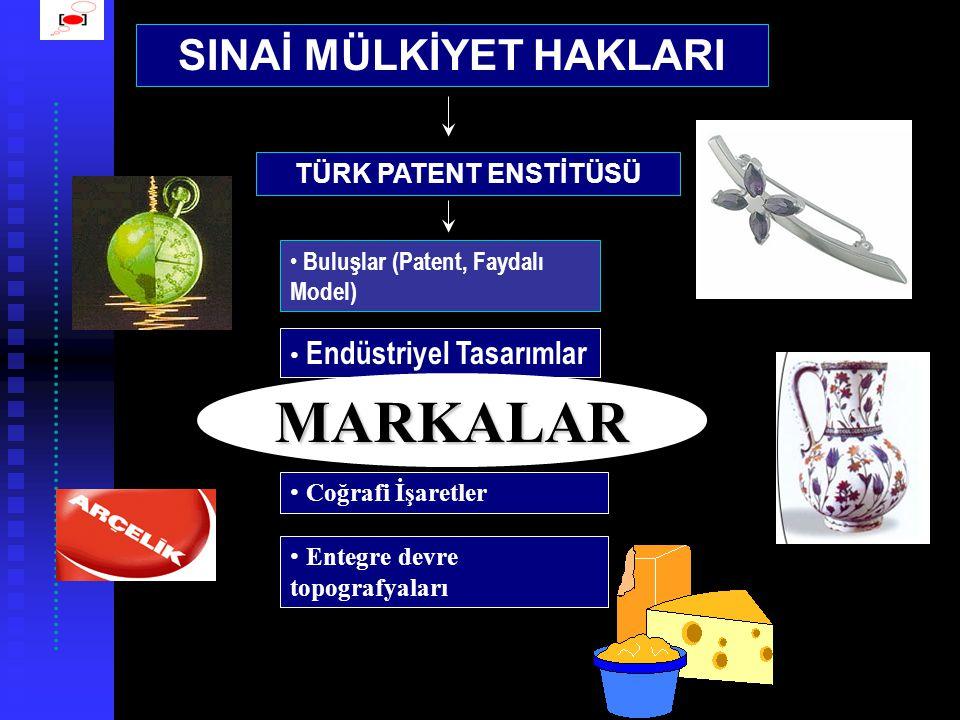 SINAİ MÜLKİYET HAKLARI • Buluşlar (Patent, Faydalı Model) • Endüstriyel Tasarımlar • Markalar • Coğrafi İşaretler TÜRK PATENT ENSTİTÜSÜ MARKALAR • Entegre devre topografyaları