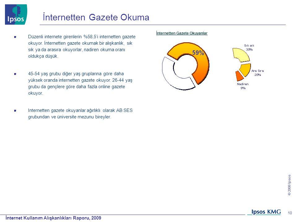 İnternet Kullanım Alışkanlıkları Raporu, 2009 © 2008 Ipsos 10 İnternetten Gazete Okuma Düzenli internete girenlerin %58,5'i internetten gazete okuyor.