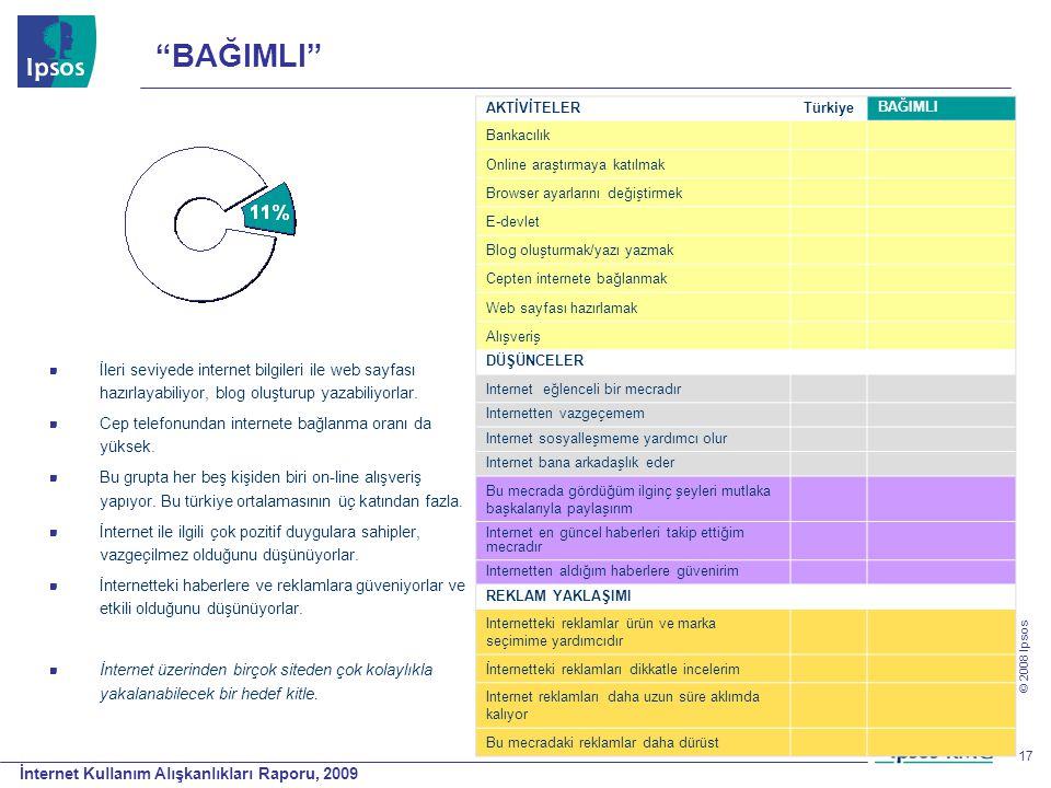 İnternet Kullanım Alışkanlıkları Raporu, 2009 © 2008 Ipsos 17 AKTİVİTELER Türkiye BAĞIMLI Bankacılık Online araştırmaya katılmak Browser ayarlarını de