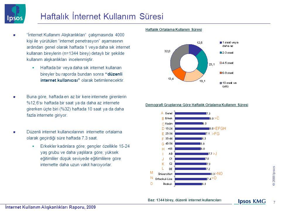 """İnternet Kullanım Alışkanlıkları Raporu, 2009 © 2008 Ipsos 7 Haftalık İnternet Kullanım Süresi """"İnternet Kullanım Alışkanlıkları"""" çalışmasında 4000 ki"""