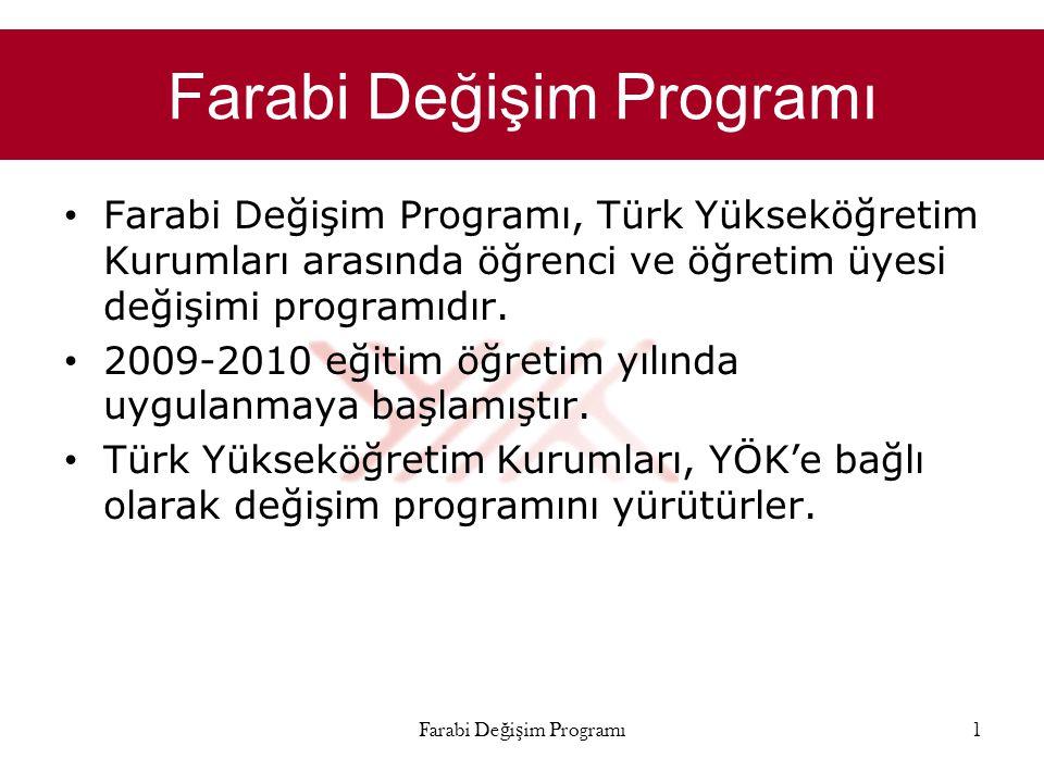Farabi Değişim Programı • Farabi Değişim Programı, Türk Yükseköğretim Kurumları arasında öğrenci ve öğretim üyesi değişimi programıdır. • 2009-2010 eğ