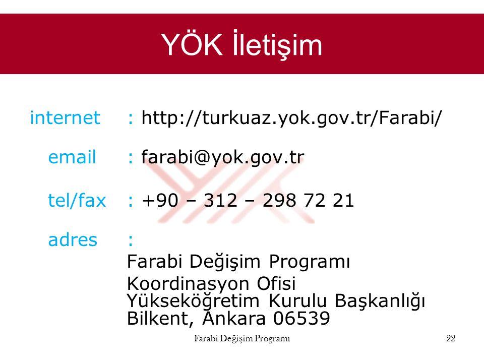 YÖK İletişim internet : http://turkuaz.yok.gov.tr/Farabi/ email: farabi@yok.gov.tr tel/fax: +90 – 312 – 298 72 21 adres: Farabi Değişim Programı Koord