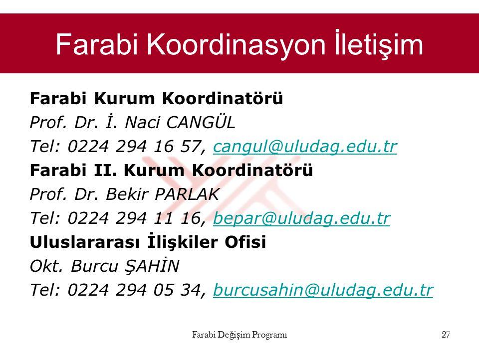 Farabi Koordinasyon İletişim Farabi Kurum Koordinatörü Prof. Dr. İ. Naci CANGÜL Tel: 0224 294 16 57, cangul@uludag.edu.trcangul@uludag.edu.tr Farabi I