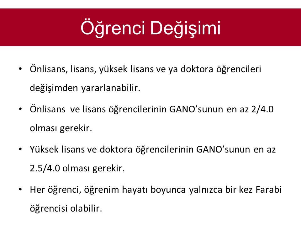 • Önlisans, lisans, yüksek lisans ve ya doktora öğrencileri değişimden yararlanabilir. • Önlisans ve lisans öğrencilerinin GANO'sunun en az 2/4.0 olma
