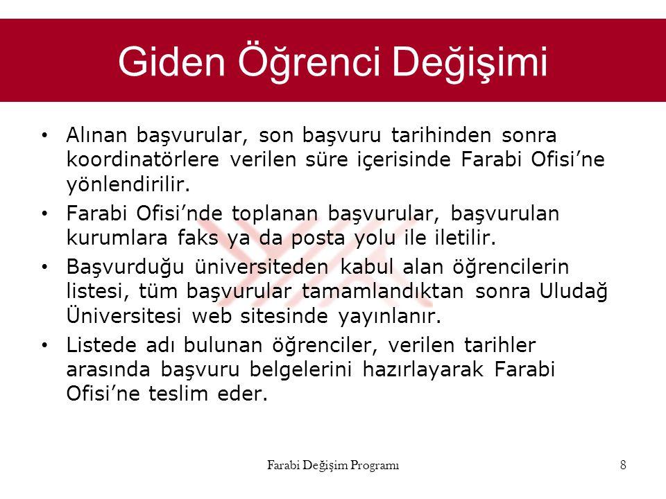 Giden Öğrenci Değişimi • Alınan başvurular, son başvuru tarihinden sonra koordinatörlere verilen süre içerisinde Farabi Ofisi'ne yönlendirilir. • Fara