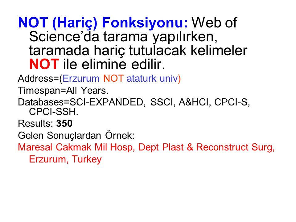NOT (Hariç) Fonksiyonu: Web of Science'da tarama yapılırken, taramada hariç tutulacak kelimeler NOT ile elimine edilir. Address=(Erzurum NOT ataturk u