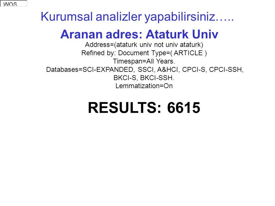 Kurumsal analizler yapabilirsiniz….. Aranan adres: Ataturk Univ Address=(ataturk univ not univ ataturk) Refined by: Document Type=( ARTICLE ) Timespan