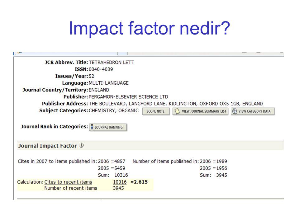 Impact factor nedir?