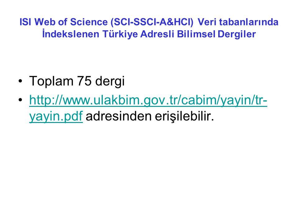 ISI Web of Science (SCI-SSCI-A&HCI) Veri tabanlarında İndekslenen Türkiye Adresli Bilimsel Dergiler •Toplam 75 dergi •http://www.ulakbim.gov.tr/cabim/yayin/tr- yayin.pdf adresinden erişilebilir.http://www.ulakbim.gov.tr/cabim/yayin/tr- yayin.pdf
