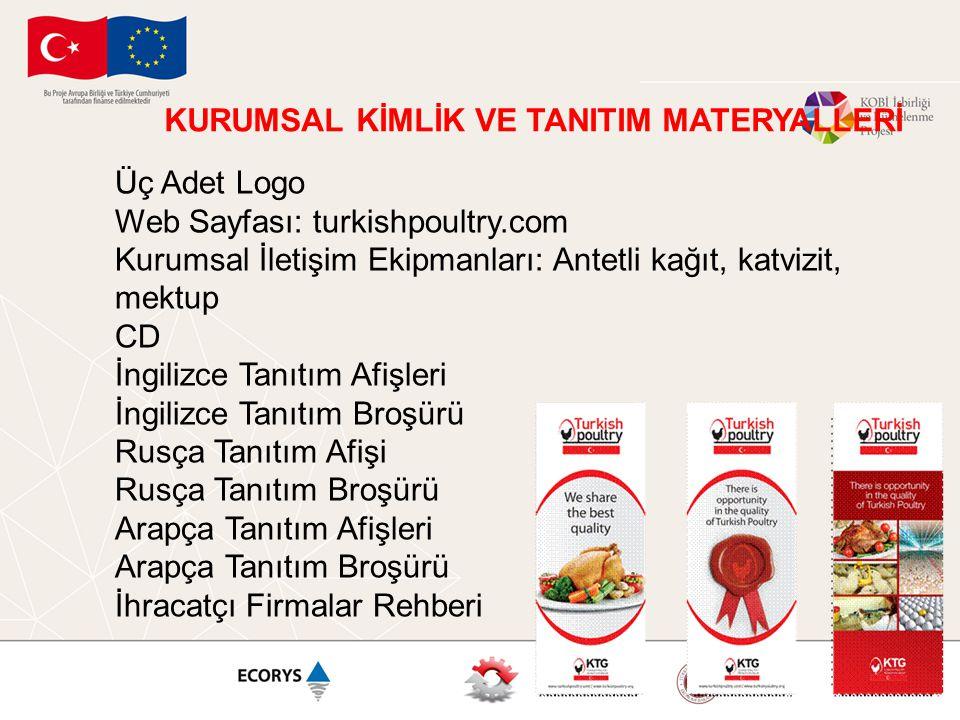 KURUMSAL KİMLİK VE TANITIM MATERYALLERİ Üç Adet Logo Web Sayfası: turkishpoultry.com Kurumsal İletişim Ekipmanları: Antetli kağıt, katvizit, mektup CD