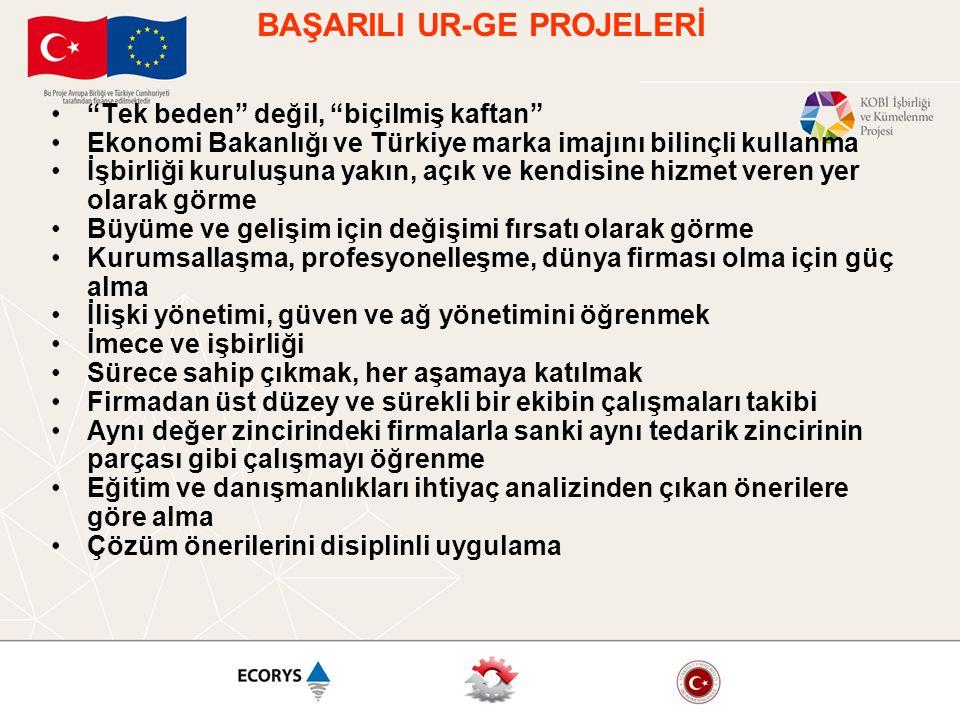 """BAŞARILI UR-GE PROJELERİ •""""Tek beden"""" değil, """"biçilmiş kaftan"""" •Ekonomi Bakanlığı ve Türkiye marka imajını bilinçli kullanma •İşbirliği kuruluşuna yak"""