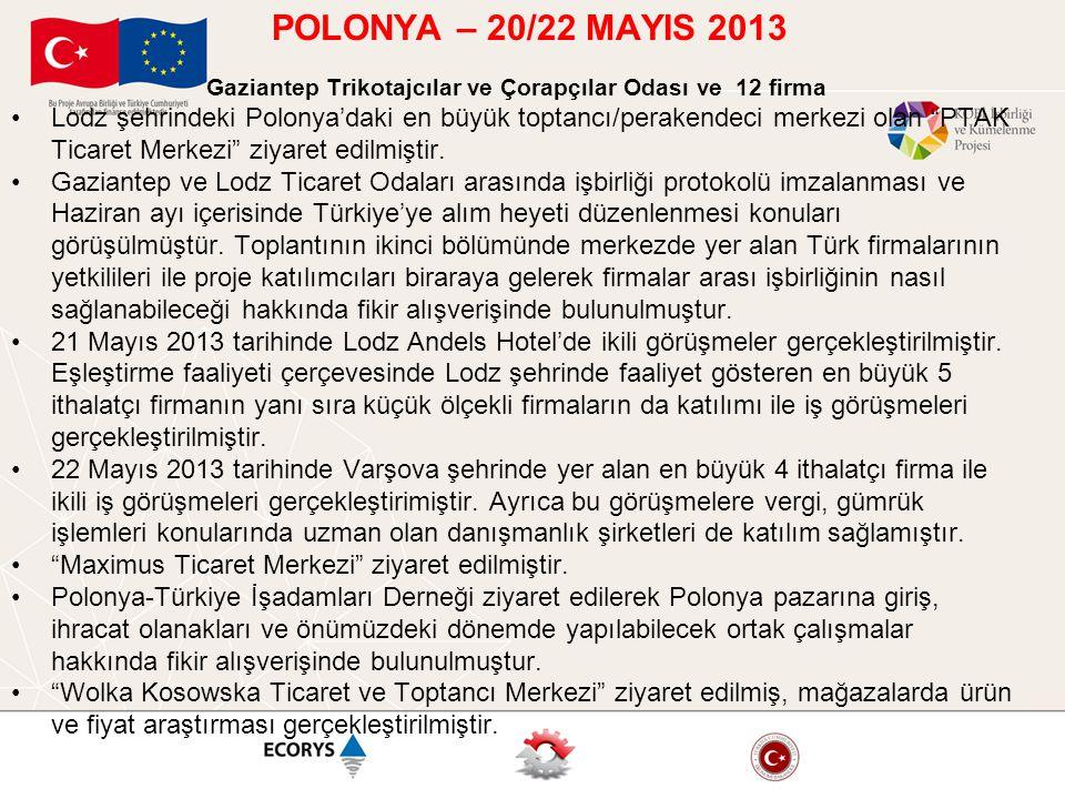 POLONYA – 20/22 MAYIS 2013 Gaziantep Trikotajcılar ve Çorapçılar Odası ve 12 firma •Lodz şehrindeki Polonya'daki en büyük toptancı/perakendeci merkezi