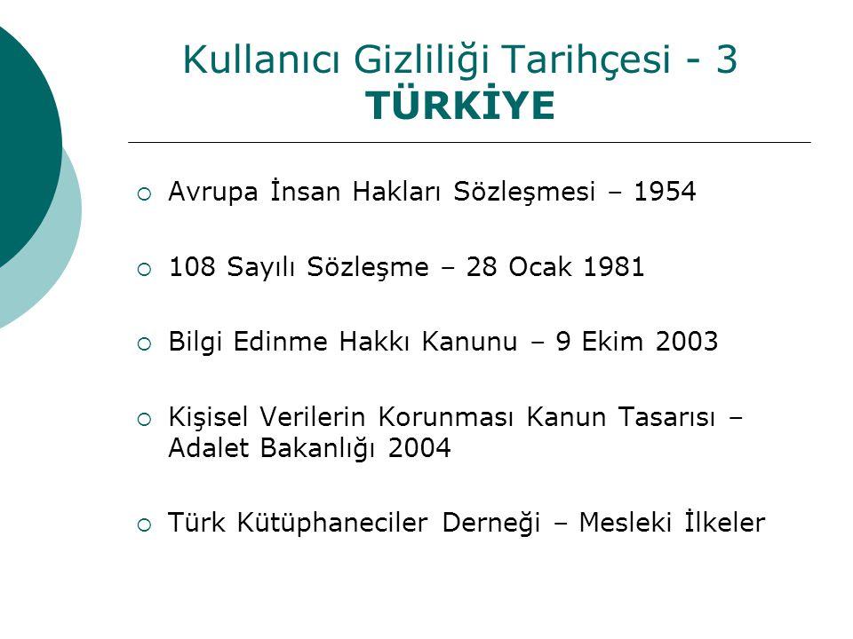 Kullanıcı Gizliliği Tarihçesi - 3 TÜRKİYE  Avrupa İnsan Hakları Sözleşmesi – 1954  108 Sayılı Sözleşme – 28 Ocak 1981  Bilgi Edinme Hakkı Kanunu – 9 Ekim 2003  Kişisel Verilerin Korunması Kanun Tasarısı – Adalet Bakanlığı 2004  Türk Kütüphaneciler Derneği – Mesleki İlkeler