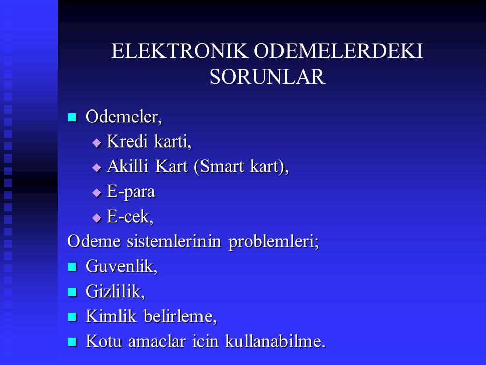 ELEKTRONIK ODEMELERDEKI SORUNLAR  Odemeler,  Kredi karti,  Akilli Kart (Smart kart),  E-para  E-cek, Odeme sistemlerinin problemleri;  Guvenlik,