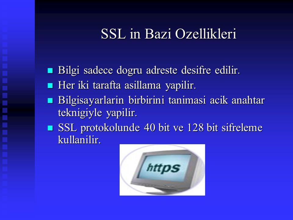 SSL in Bazi Ozellikleri  Bilgi sadece dogru adreste desifre edilir.  Her iki tarafta asillama yapilir.  Bilgisayarlarin birbirini tanimasi acik ana
