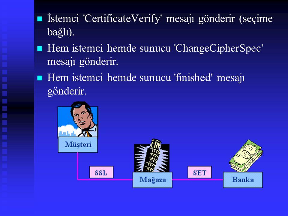   İstemci CertificateVerify mesajı gönderir (seçime bağlı).