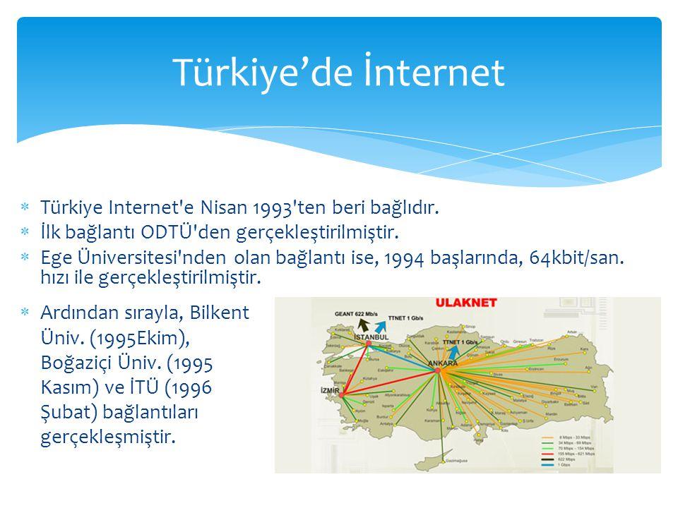  Türkiye Internet'e Nisan 1993'ten beri bağlıdır.  İlk bağlantı ODTÜ'den gerçekleştirilmiştir.  Ege Üniversitesi'nden olan bağlantı ise, 1994 başla