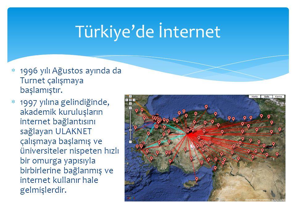  1996 yılı Ağustos ayında da Turnet çalışmaya başlamıştır.  1997 yılına gelindiğinde, akademik kuruluşların internet bağlantısını sağlayan ULAKNET ç