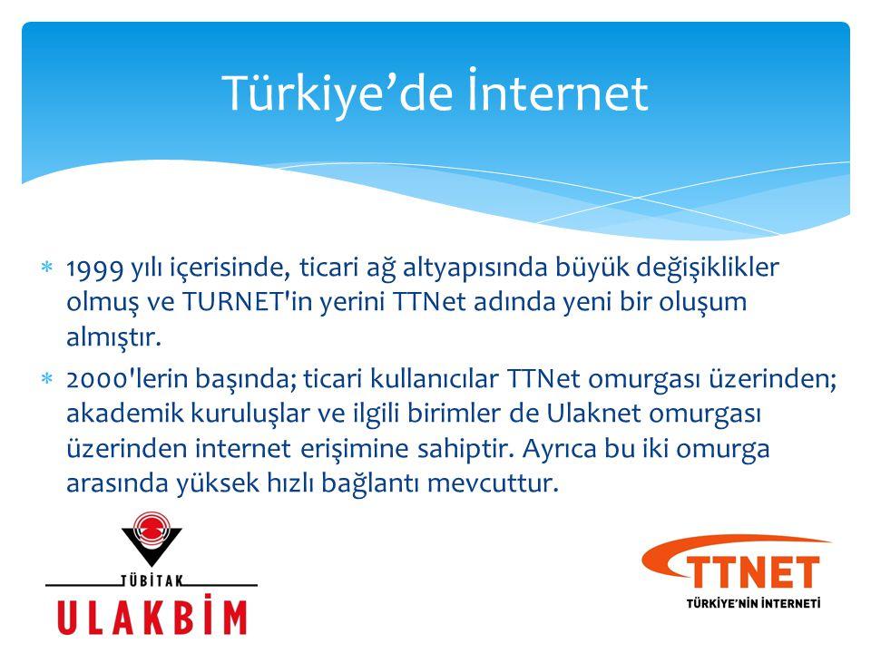 1999 yılı içerisinde, ticari ağ altyapısında büyük değişiklikler olmuş ve TURNET'in yerini TTNet adında yeni bir oluşum almıştır.  2000'lerin başın