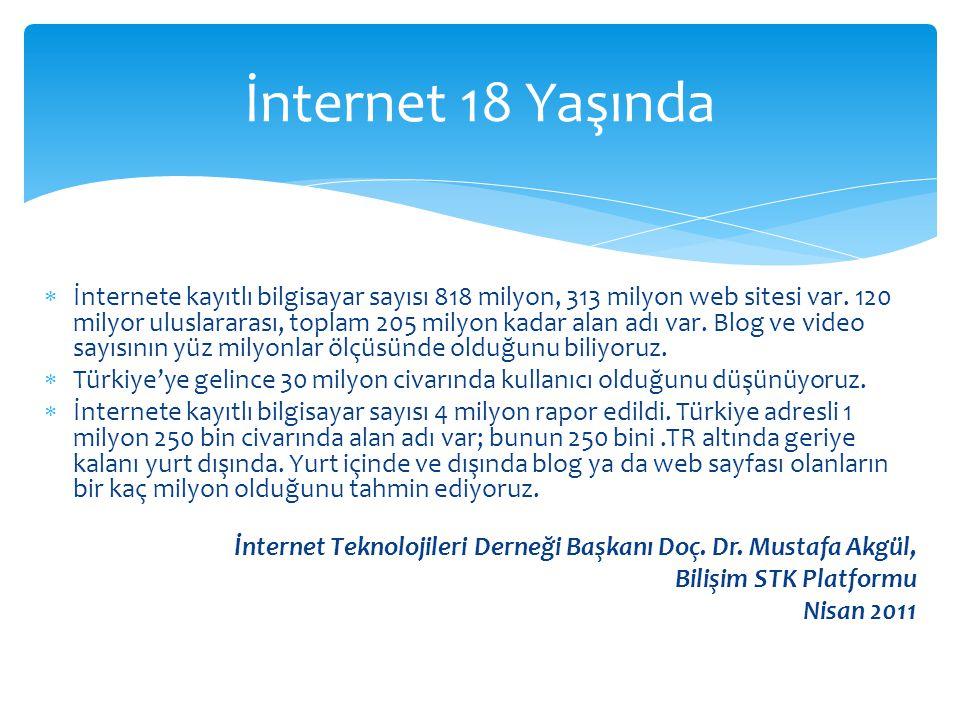  İnternete kayıtlı bilgisayar sayısı 818 milyon, 313 milyon web sitesi var. 120 milyor uluslararası, toplam 205 milyon kadar alan adı var. Blog ve vi