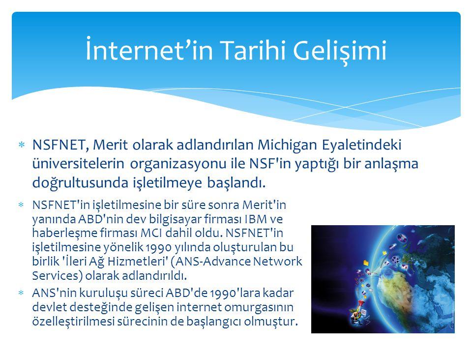  NSFNET, Merit olarak adlandırılan Michigan Eyaletindeki üniversitelerin organizasyonu ile NSF'in yaptığı bir anlaşma doğrultusunda işletilmeye başla