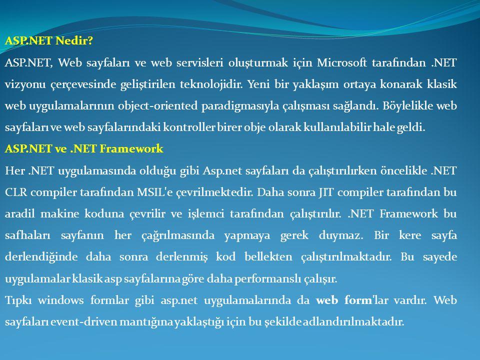 ASP.NET Nedir? ASP.NET, Web sayfaları ve web servisleri oluşturmak için Microsoft tarafından.NET vizyonu çerçevesinde geliştirilen teknolojidir. Yeni